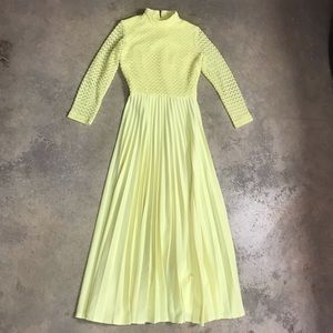 1960's Crocheted Accordion Pleat Maxi Dress 1970's